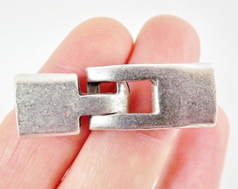 2 Pairs Rectangle Interlocking End Cap Clasp Clousure Fastener for Leather Cord  - Matte Silver Plated