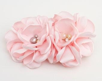 Pink Gardenia hair clip