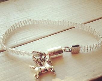 Transparent S/L Bead Loom Bracelet with Pegasus Charm