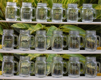 Personalized Mason Jar Mugs, Mason Jars, 15 Wedding Party Personalized Mason Jar Set, Groomsmen Gift, Bridesmaid Gift, Engraved Wedding Gift