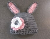 Baby Bunny Hat with Flower, Easter Rabbit Hat