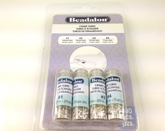 600 Pc Crimp Tubes Silver Plated Beadalon Assorted sizes1,2,3,4 - 305B-121