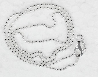 20 inch 1.8mm  Ball Bead 925 Solid Sterling Silver Chain. Thicker Bead. Stamped 925 Italy Finished Chain Army Chain Tag Chain- SC18BC20