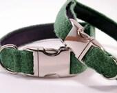 """3/4"""" Harris Tweed Dog Collar - Green"""