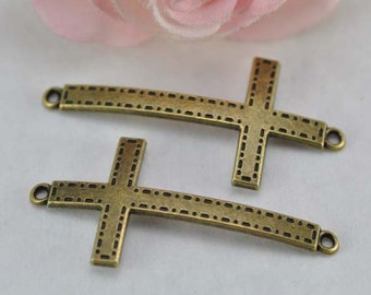 10pcs Antique Brass Sideways Cross Charms Connector 25x53mm