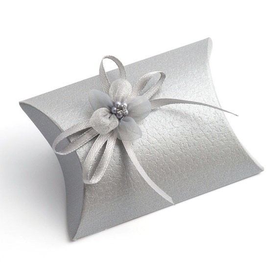 10 small silver pelle gift boxes wedding favor boxes decorations