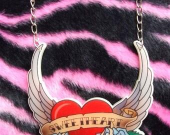 Sweetheart Tattoo Scroll Rockabilly Necklace