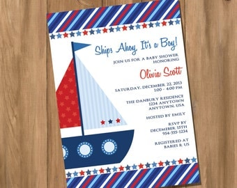 Sail Boat Nautical Baby Shower /  Birthday Party Invitation (Digital - DIY)