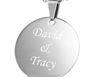 Personalized Stainless Steel Round Charm Pendan with Chain - Free Engraving