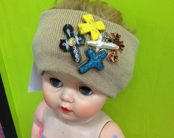 Funky Cross Decorated/Embellished Beige Knit Headband Stretch Ear Warmer with Stones & Charms