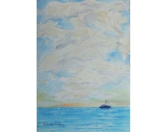 beach decor SALE original painting  ocean ship Painting original Sailing is a multi media highly textured original art. artbyevelynmarie