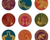 Sari Peacock Elephant Ornaments - Printable Digital Sheet