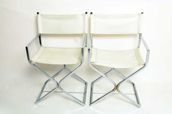 2 White Chrome Directors Chairs 1960 Mid Century Modern Vinyl
