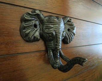 Elephant Wall Hook / Cast Iron Elephant Hanger / Safari Jungle Decor / Hook for Kids / Black or Pick Color / Nursery Organization