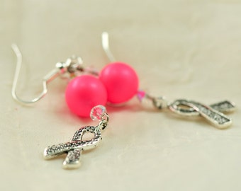 Breast cancer awareness earrings - Hot Pink Swarovski pearls with Swarovski crystals - Donation to Susan G. Komen for the Cure