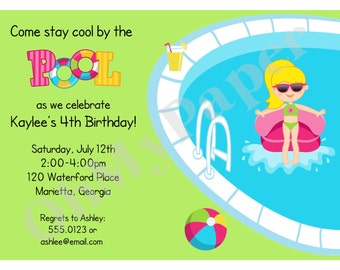 BOY or GIRL Pool Party Invitations