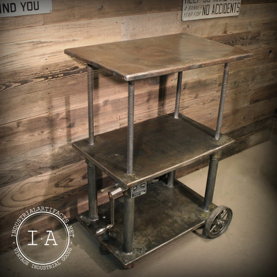 Industrial Rolling Kitchen Cart: Vintage Industrial Die Cart Rolling Table Bar Entertainment