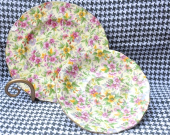 Chintz China Dessert Plate and Saucer Set by Royal Winton