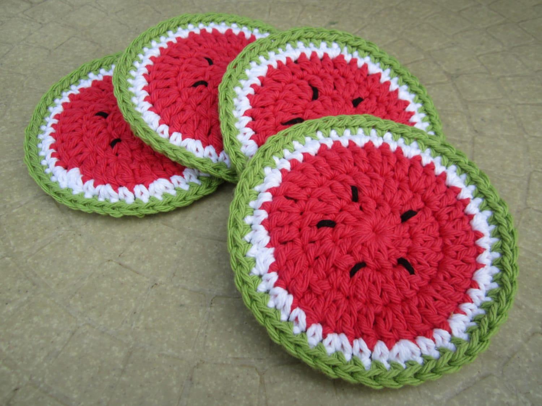 Crochet coasters watermelon coasters set of 4 cotton - Posavasos de ganchillo ...