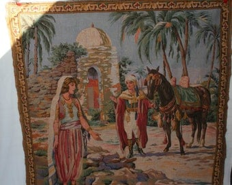 Vintage Sheik and maiden tapestry