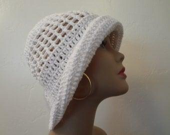 Stylish Sun Hat - White Cotton Floppy Sun Hat - Ladies Summer Hat - Warm Weather Hat