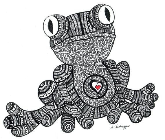Frog Horse Drawing Frog Drawing Print