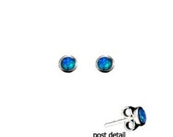 Sterling Silver Earrings - Circle Opal Gem Stone Greek (3mm)