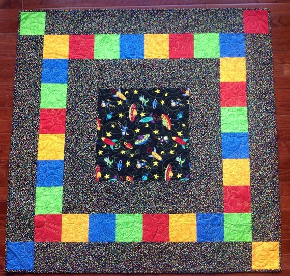 Baby quilt outer space flying by sewannesewbasics on etsy for Outer space quilt