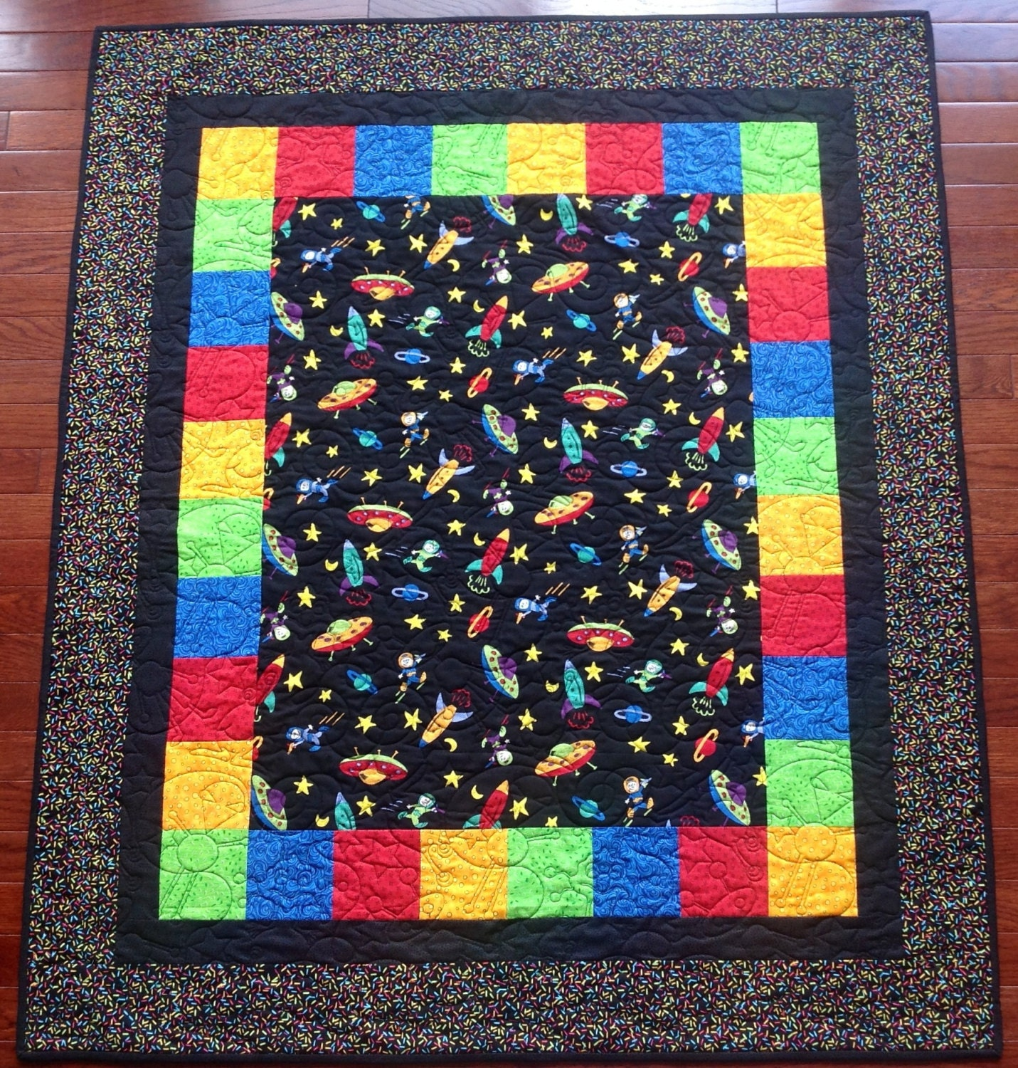 Outer space baby quilt for Space baby fabric