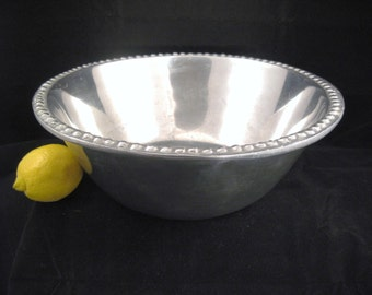 Large Pewter Serving Bowl with Beaded Rim