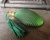 Art Deco Perfume Bottle - Hand-Blown Green Glass,  Rare Clam Shell Design