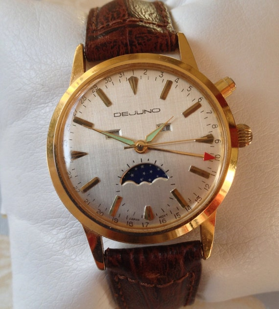 Extremely Rare Vintage DeJuno Men's Moon Phase Watch, Complete Moon Cycle Plus Date, Day & Month, - Summer Sale