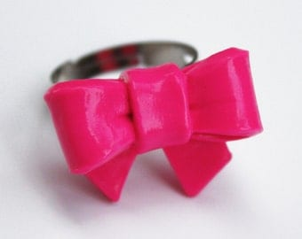 Hot Pink Polymer Clay Bow Ring