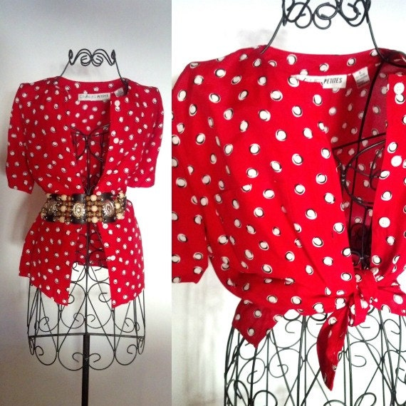Polka dot tie up shirt vintage red white and black for White red polka dot shirt