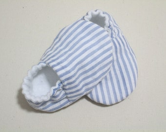 Light Blue Seersucker Baby Shoes/Booties / 100% Cotton /  Cotton Flannel Lining/ Summer / New Baby / Baby Gifts