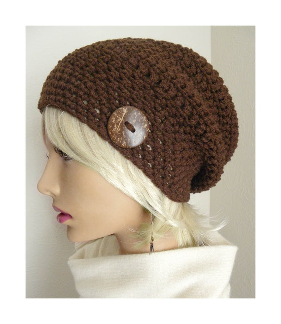 Boho Chic Chocolate Brown Slouchy Beanie hat coconut button Hand Crocheted womens fall autumn winter fashion accessories
