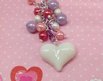 White Heart... Cell phone charm, phone charm, dust plug charm, dust plug, headphone jack charm, Kawaii charm