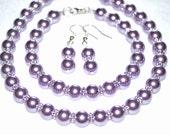 Purple pearl Bridal Set  jewelry 3pc