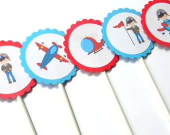 12 Airplane Cupcake Toppers, First Birthday, Airplane Theme, Plane Birthday, Plane Baby Shower, Airplane Toppers, Airplane Birthday