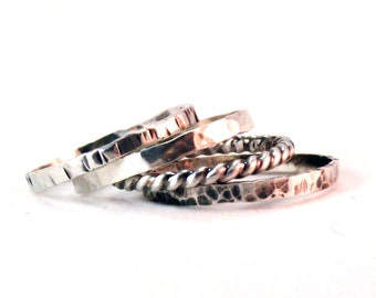 Silver band ring, one silver band, Thin Stacking Band, textured band, twist band, hammered silver band, silver ring, oxidized silver,