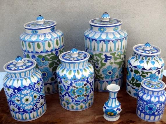 Blue Pottery Of Jaipur India Vintage Antique