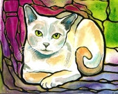 "Pretty Pale Kitty Cat Art 8""x10"" PRINT of original Lovely colorful Unique ""Stained Glass"" Style K.McCants"