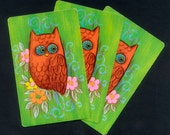 Colourful, Retro, Owl Playing Cards - Birds - Collage, Handmade Cards, Mixed Media
