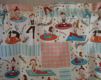 Yoga Exercise Curtain Valance 40 x 15 in 100% Cotton - Handmade New.