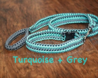 Extra wide paracord collar and leash set