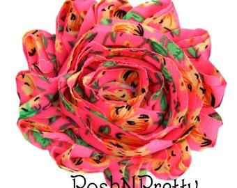 """1 YARD 2.5"""" Printed Summer Fun Shabby Frayed chiffon flower TRIM"""