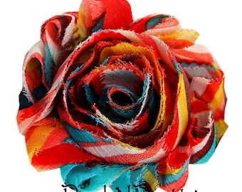 "1 YARD 2.5"" Printed Autumn Fun Shabby Frayed chiffon flower TRIM"