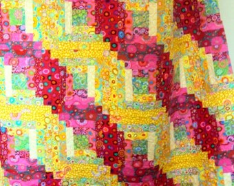 LOG CABIN QUILT-homemade- queen size and funky!