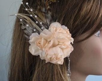 Wedding Flower Hair  Clip   Wedding Accessory Bridal Hair Clip Wedding Hair Clip Feather Pearls