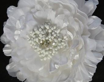 SALE Wedding Accessory - White Flower Hair Clip - Wedding Hair Clip - Bridal Accessory --Crystals